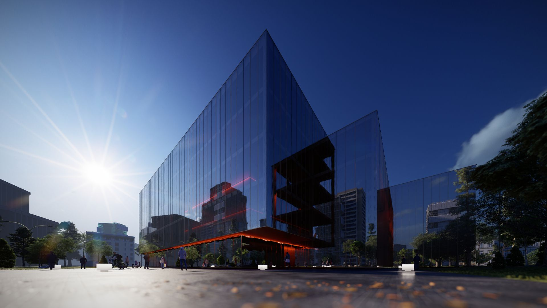 3d visualiseerimine hoone moderne keskplats 2 3