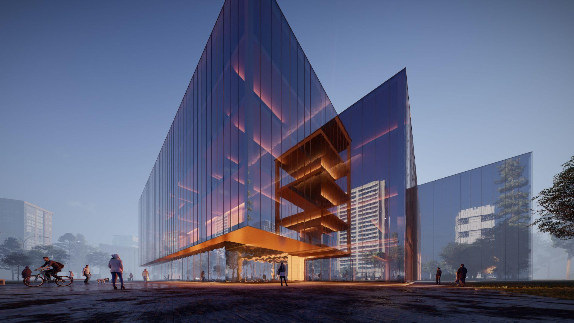3d visualiseerimine hoone moderne keskplats 3 2 35 Photo