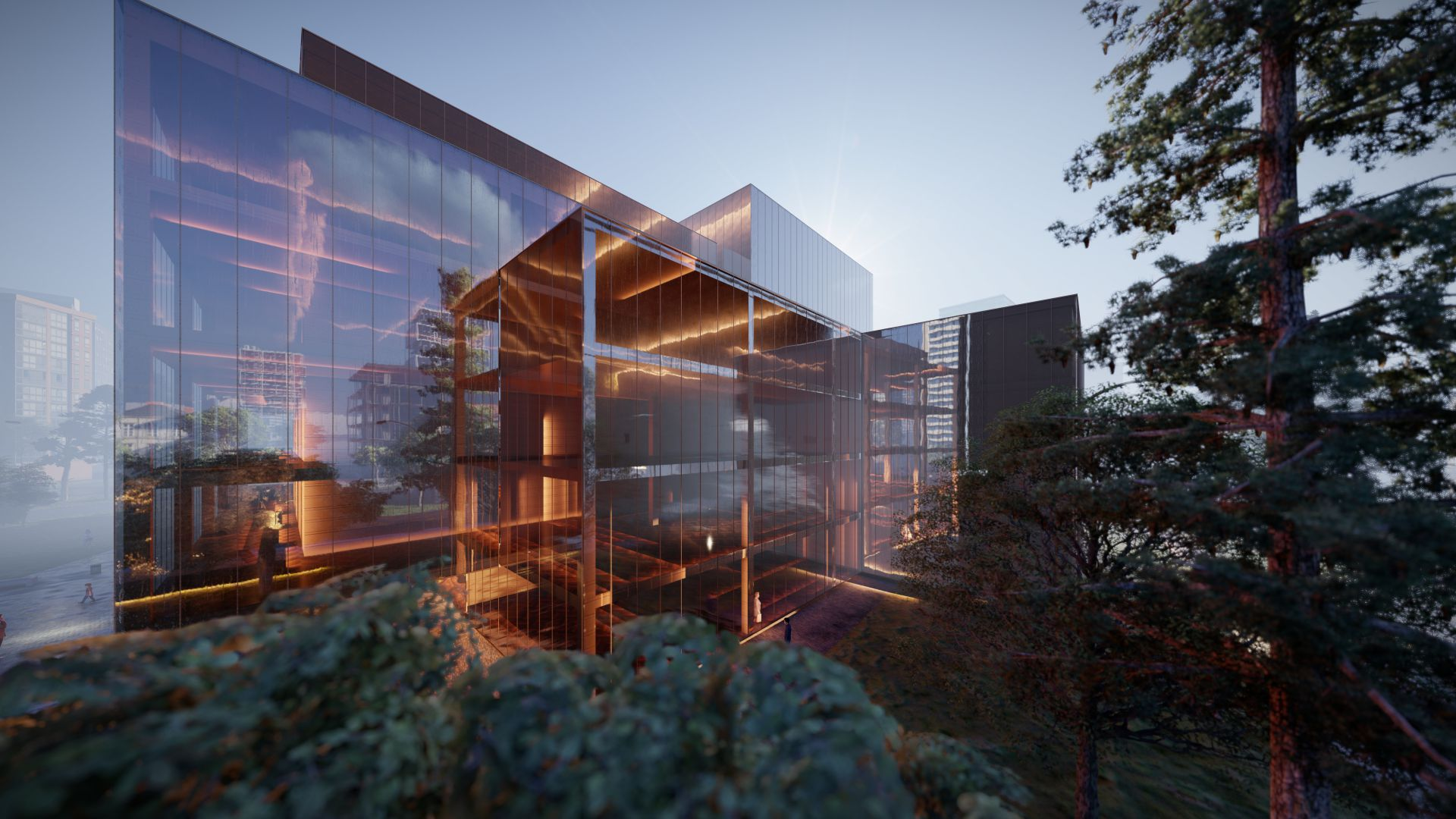 3d visualiseerimine hoone moderne keskplats 3 2 37 Photo