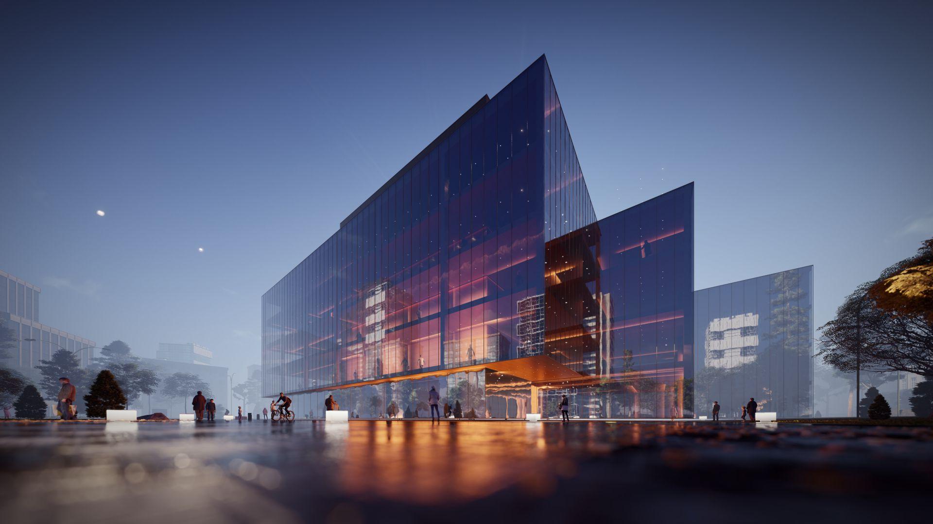 3d visualiseerimine hoone moderne keskplats hero sharp 4