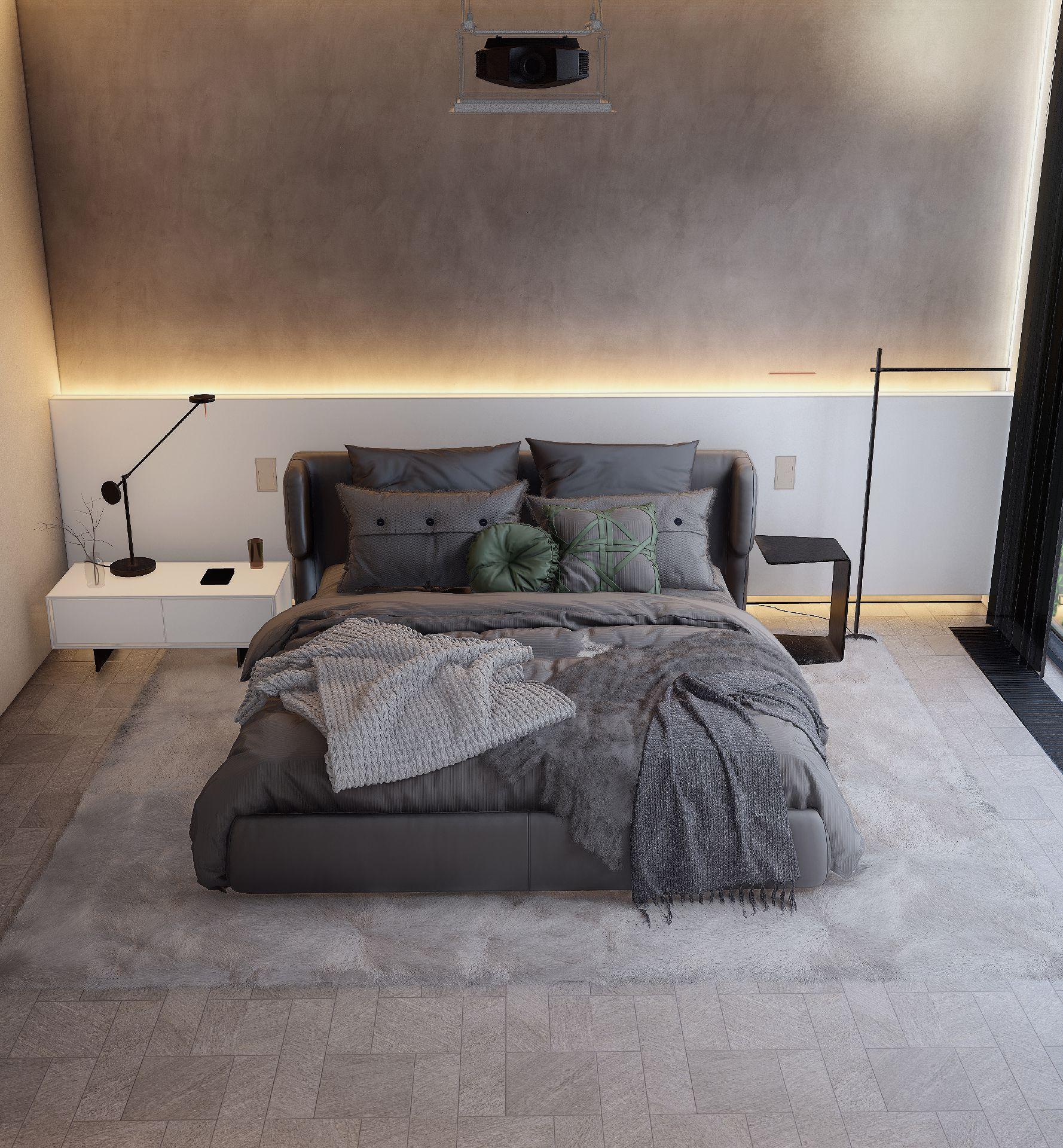 3d visualiseerimine magamistuba moderne minimaalne 3 2 1