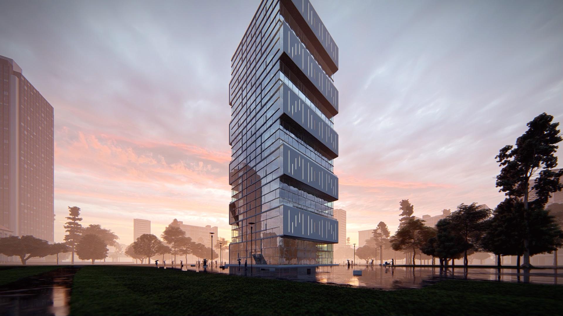 arhitektuurne 3d animatsioon pilve hoone loojang
