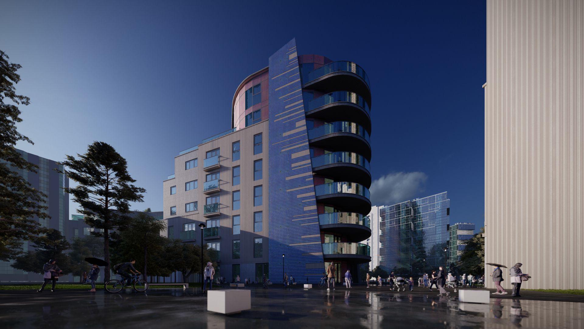 arhitektuurne 3d visualiseerimine hoone plokk 3
