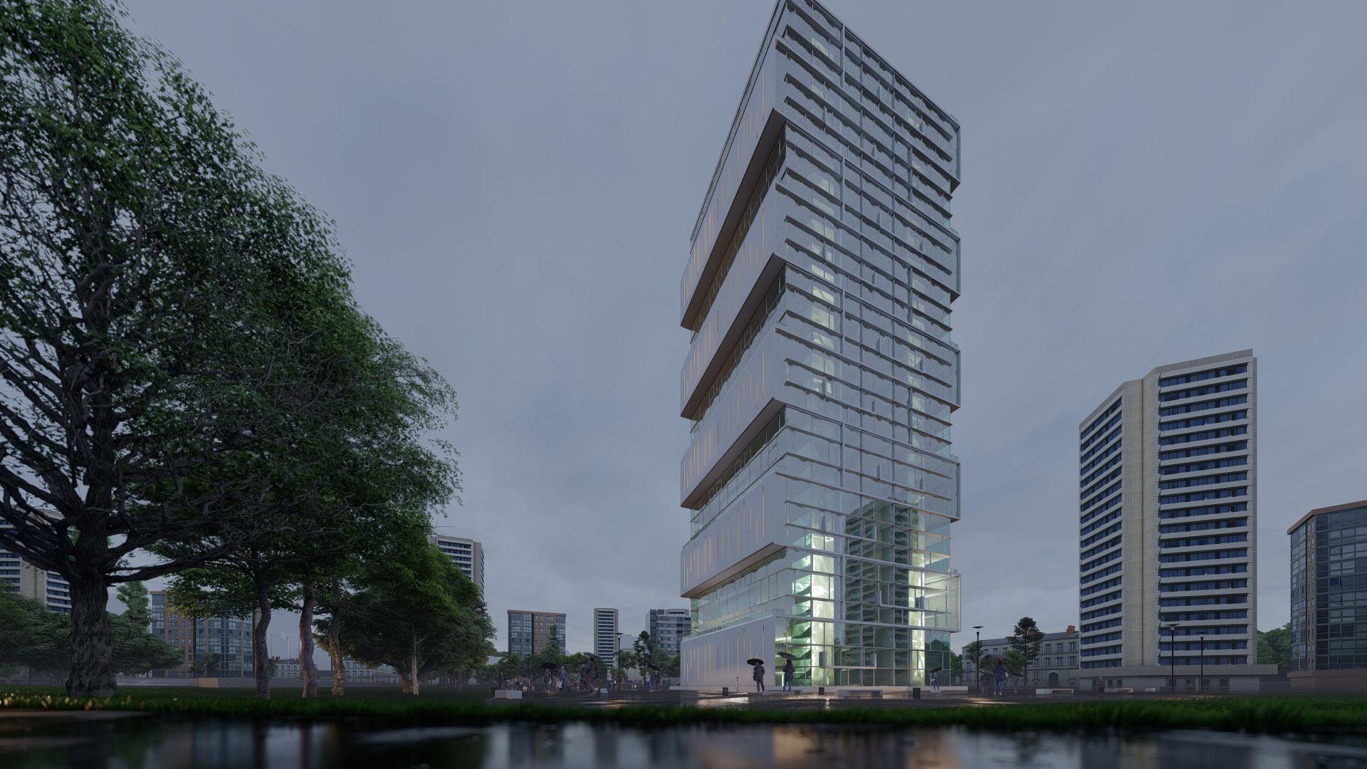 arhitektuurne 3d visualiseerimine pilve hoone 3 2