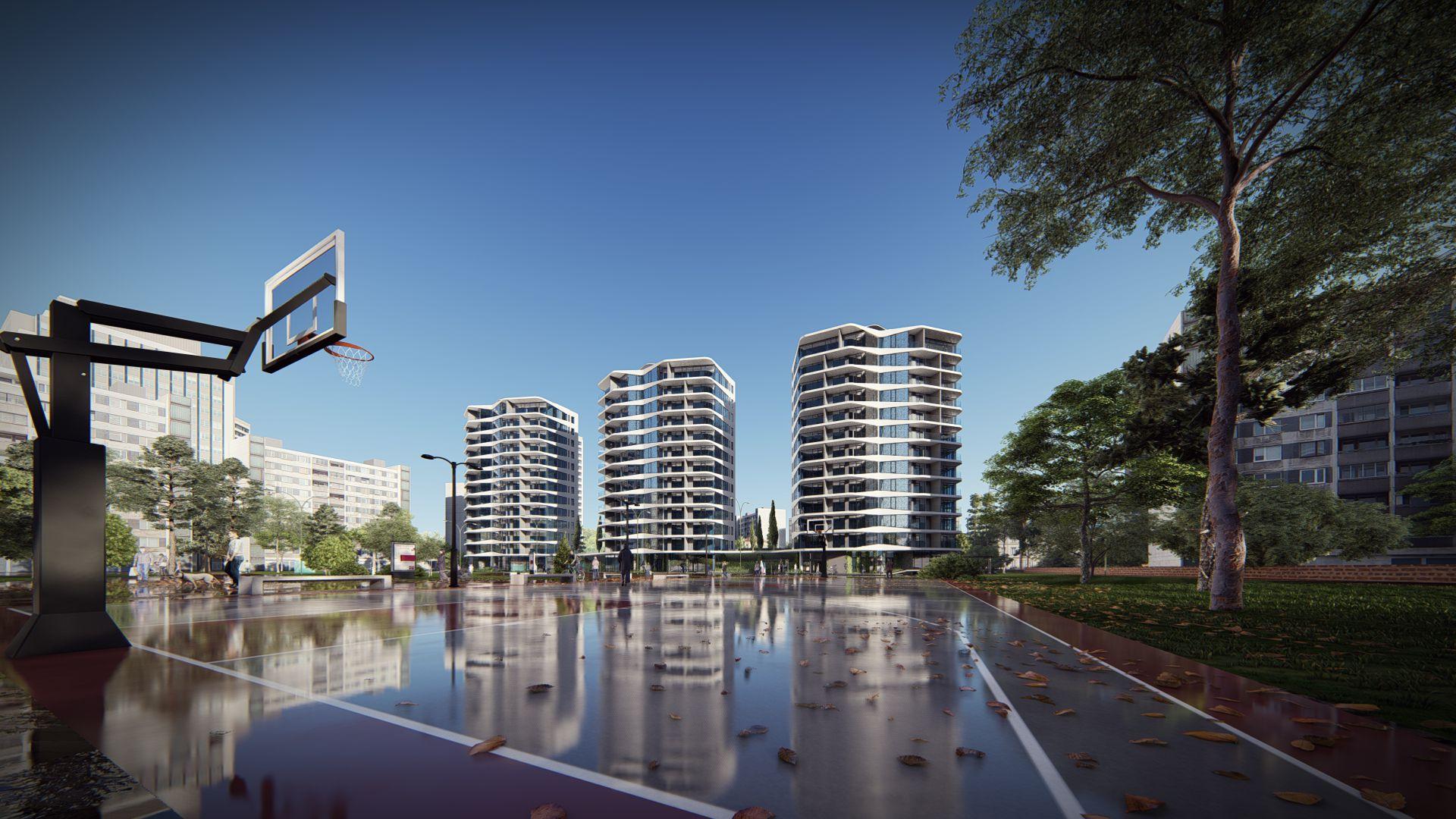 arhitektuurne 3d visualiseerimine skyline vaade hoonele 1